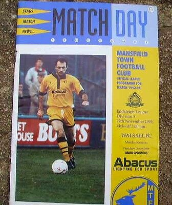Mansfield Town  V  Walsall 1993-94