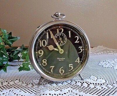 Antique Westclox Big Ben Chrome Art Deco Alarm Peg Leg Clock ~ Working