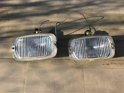 Pair Of Vintage Wipac Classic Car Rectangular Chrome Cased Back Spot Lights