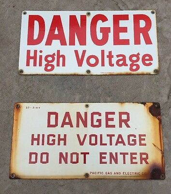 Danger High Voltage Sign Pg&e Old Porcelain