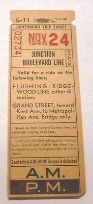 1946 Nyc Transit Authority Queens Junction Boulevard Line Trolley Route Transfer