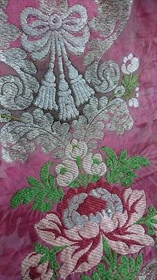 DIVINE MORCEAU ANTIQUE FRENCH SILK BROCADE & SILVER WIRE WEAVE 18th century