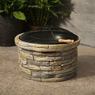 Outdoor Garden Patio Backyard Heater Stone Fire Pit Round Firepit Steel Bowl