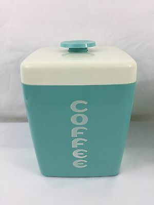 VTG MC Lustro Ware Aqua Turquoise Plastic Coffee Kitchen Canister With White Lid