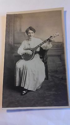 rp card, unnamed lady musician,circa 1910,music