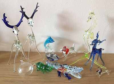 Vintage Pirelli? Murano? 9 Glass Animals Stags Crocodiles Seahorse Dogs Dolphin