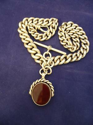 """""""Heavy Double Antique Hallmarked Solid Silver Albert  Watch Chain W Fob 1897"""