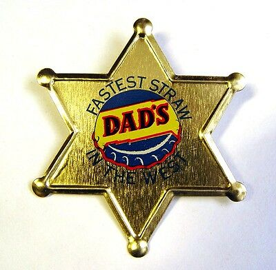 Mint Dads Root Beer Advertising Sign Trademark Tin Sheriff Police Old West Badge