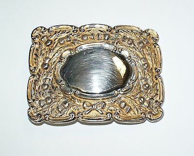 Metal Belt Buckle Thistle Bow Engraving Plaque American Western Cowboy Style