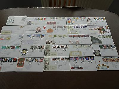 Large collection of 25 x GB FDC 1980's First Day Covers