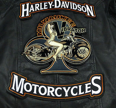 Harley 12 Inch Top Bottom Rocker Knucklehead Pin Up Girl Mc 3 Pc Back Patch