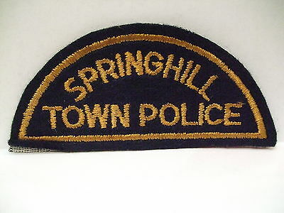 police patch  SPRINGHILL TOWN POLICE NOVA SCOTIA  CANADA  1/2 MOON STYLE FELT