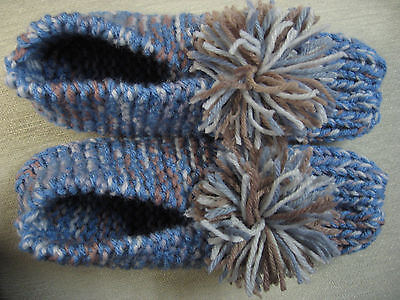 NWOT Amish Handmade Blue Mix House Slippers Womans Large Mans Medium 9 1/2""