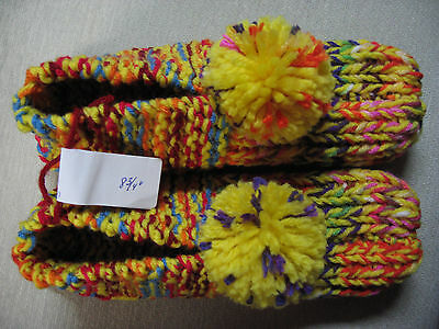 Amish Handmade Knitted House Slippers Yellow Sunrise Womans Med Mans Sm 8 3/4""