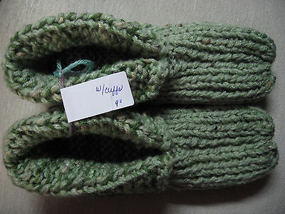 NWOT Amish Handmade House Slippers w/Cuffs Green Mix Mans Small Womans Medium 9""