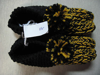 Handmade Slippers Pittsburgh Steelers Black & Gold Womans Sm Mans X Sm 8 1/4""