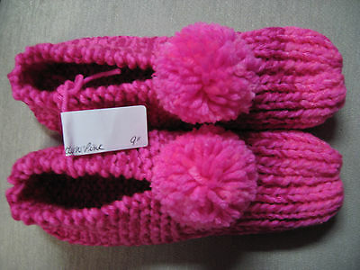 New Amish Handmade Knit House Slippers Booties Pink Mix Womans Med Mans Sm 9""