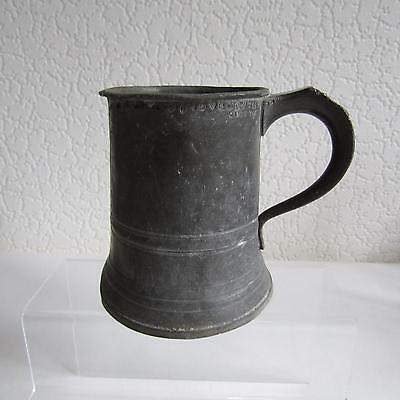 Antique Victorian James Yates Pewter Pint Mug With Verification Marks
