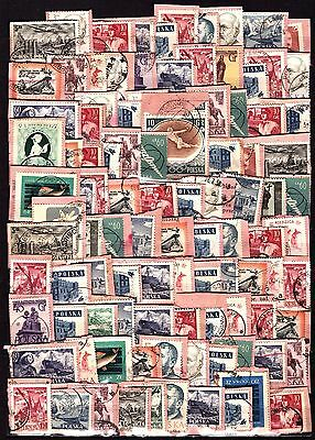 Poland Lot of 100  Stamps on Paper Kiloware.