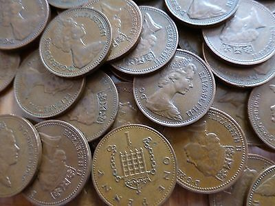 1p Coin 1977 UK, Circulated. One Pence, 40 Birthday Anniversary Lucky Penny gift