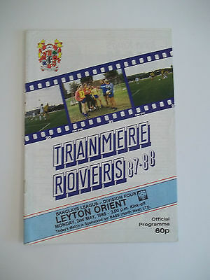 TRANMERE ROVERS VS LEYTON ORIENT (DIVISION 4) 2nd MAY 1988 PROGRAMME