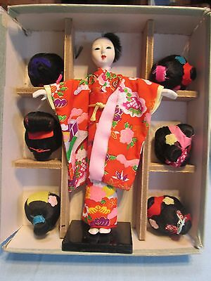 "Lucky Dolls  7"" Japanese Doll with 6 Wigs Vintage"