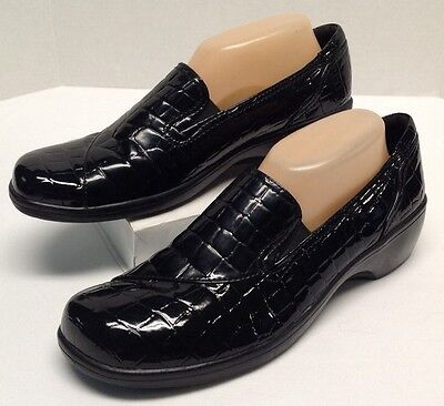 Clarks Bendables May Poppy Black Croco Slip On Leather Oxford Shoe 38633 Size 11