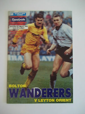 BOLTON WANDERERS VS LEYTON ORIENT (DIVISION 2) 6th MARCH 1993 PROGRAMME
