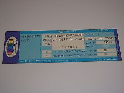 PRINCE AUGUST 3, 1986 UNUSED CONCERT TICKET Madison Square Garden New York USA