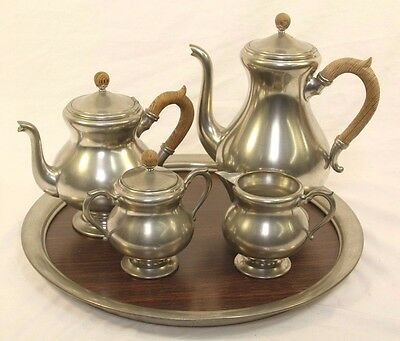 Vintage Royal Holland Pewter Coffee Tea Set With Sugar Bowl and Creamer cup