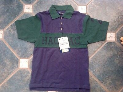 Hac Tac Hactac Men's Small Polo Shirt Equestrian Green Blue New Teens