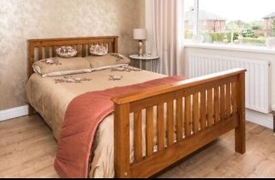 Pine Wooden Double Bed Frame, With Headboard And Footer