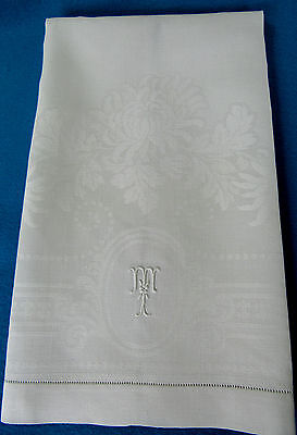 "Antique Bright White Linen Damask Bath Towel Mums Monogrammed "" T "" Clean 36"""