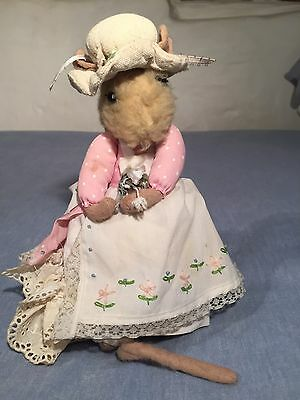 Vintage Hand Made Stuffed Mouse + Frilly Pink & White Dress