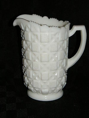 VTG WESTMORELAND Milk Glass Embossed Old Quilt Pattern Pitcher 8-1/4 High w Logo