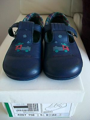 Vintage Clarks First Shoes Navy Leather Thomas Train Motif  Size 5.5E