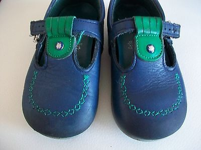 Vintage Children's Clarks Hoppity Blue Green Leather T-Bar Shoes Size 6F
