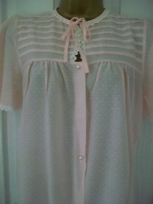 Vintage BHS Nightdress And Matching Robe Pink White Spot Excellent Condition