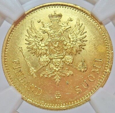 1878 S Gold Finland / Imperial Russia 20 Markkaa Coin Ngc Mint State 64