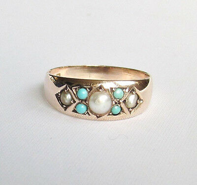 Old antique Edwardian seed pearl & turquoise 9ct gold ring size O 1/2 Birm 1905-