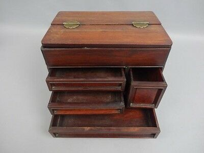 Antique Early 20c Chinese Rosewood Jewel Box Chest