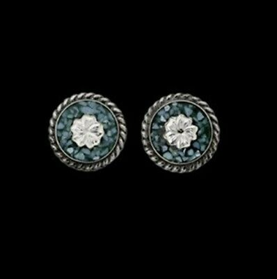 """SALE! Bar V Ranch 1/2"""" Round Turquoise Silver Flower Earrings 311-701"""