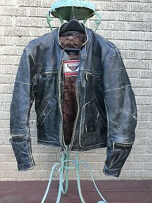 Vintage distressed black Leather FirstGear Motorcycle Jacket & Quilted Liner L