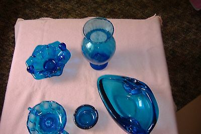 Vintage Lof of 5 Blue Glass - Vase, Ashtray, Handle dish, 1 Heavy Ashtray ? Vase