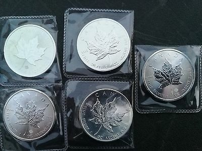5 x Canadian maple leaf 1 ounce silver bullion coins