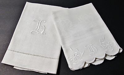 Antique 2 Large Nubby Linen Towels h Monograms Freshly Laundered Ready to Us