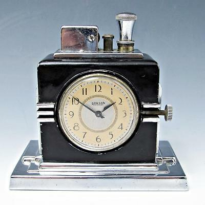 Vintage 1930's Deco Ronson AMW Touch Tip With Clock - Working - Original Wand