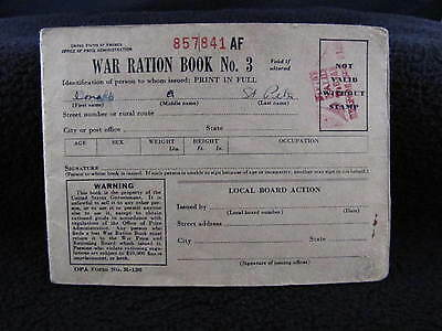 Vintage Antique WAR RATION BOOK NO.3 Containing Ration Stamps Ephemera Paper