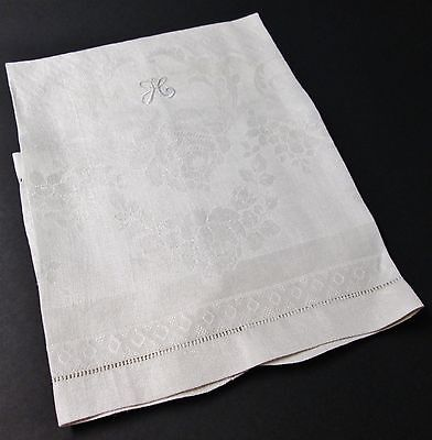 Antique Linen Damask Towel Florals & Diamond Texture H Monogram Hemstitched