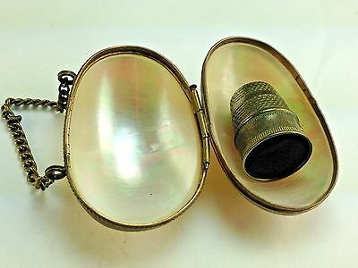 Vintage Mother of Pearl  Shell  Sewing Thimble Holder Egg Shape